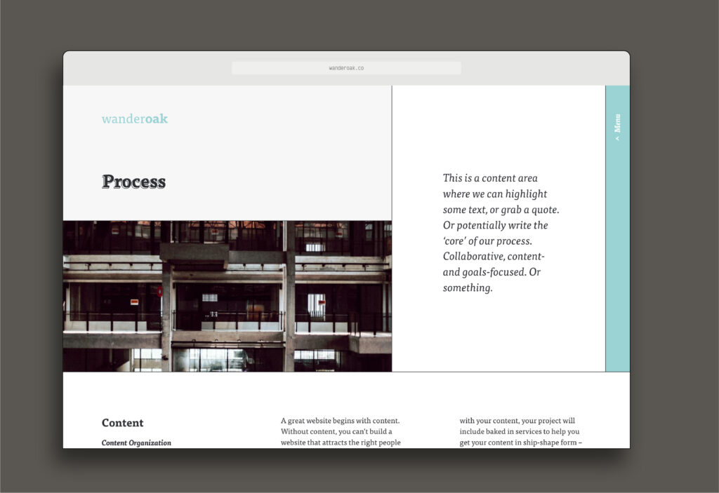 An image of the last type of header, when you want to include a statement at the top of a regular page.
