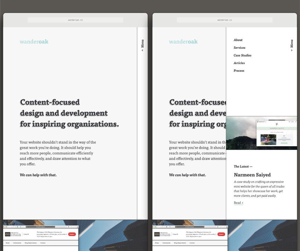 Medium screens, menu open vs closed